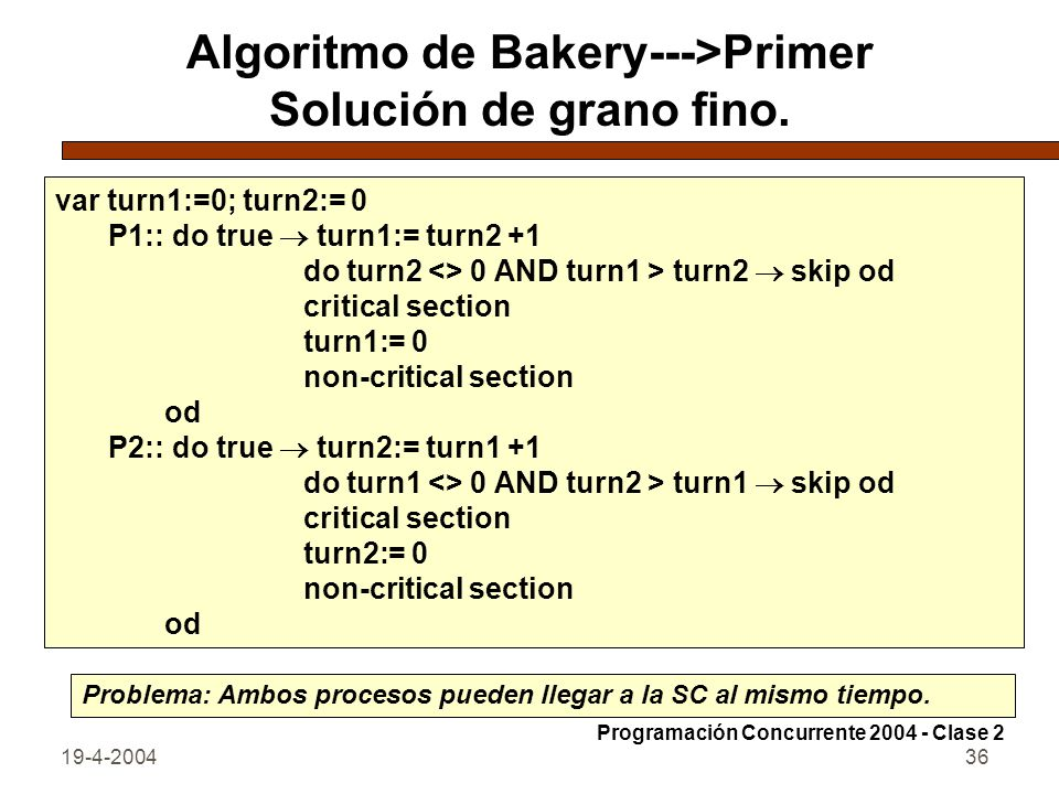 19-4-200436 Algoritmo de Bakery--->Primer Solución de grano fino. var turn1:=0; turn2:= 0 P1:: do true turn1:= turn2 +1 do turn2 <> 0 AND turn1 > turn