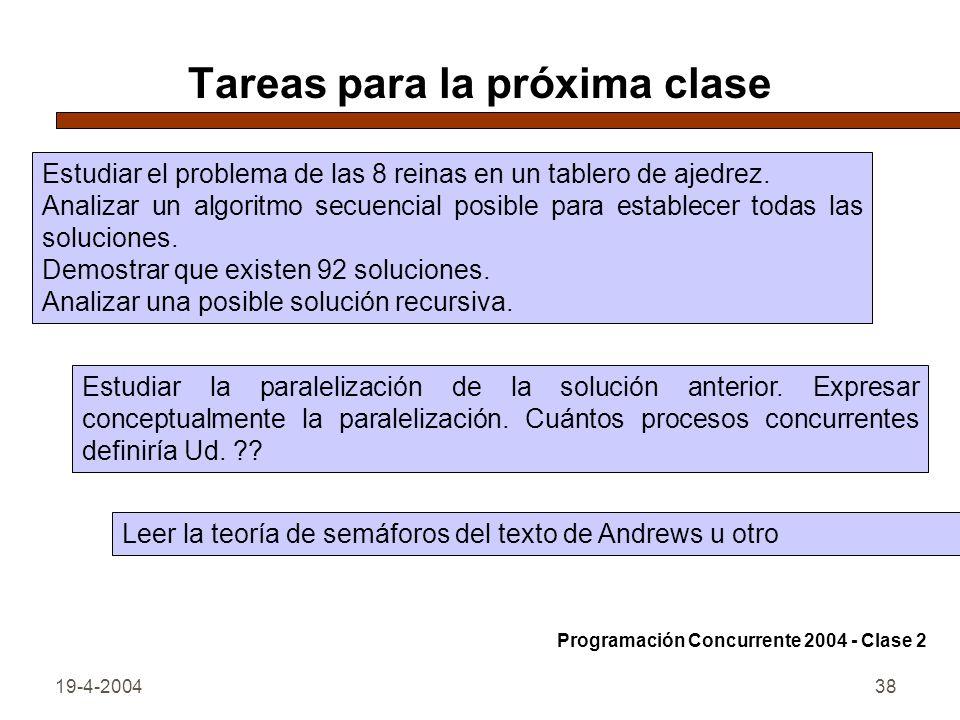 19-4-200438 Tareas para la próxima clase Estudiar el problema de las 8 reinas en un tablero de ajedrez.