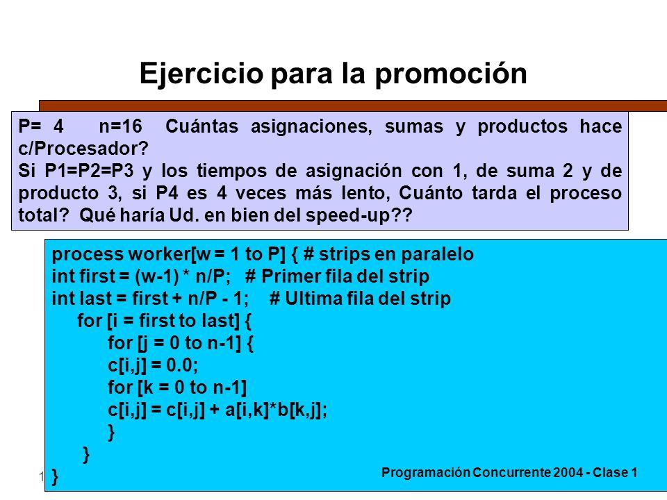 19-4-200439 Ejercicio para la promoción P= 4 n=16 Cuántas asignaciones, sumas y productos hace c/Procesador.