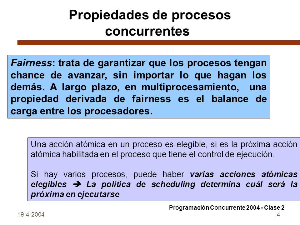 19-4-20044 Propiedades de procesos concurrentes Fairness: trata de garantizar que los procesos tengan chance de avanzar, sin importar lo que hagan los demás.