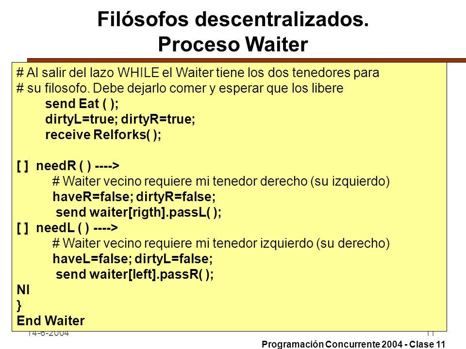 14-6-200411 Filósofos descentralizados. Proceso Waiter # Al salir del lazo WHILE el Waiter tiene los dos tenedores para # su filosofo. Debe dejarlo co
