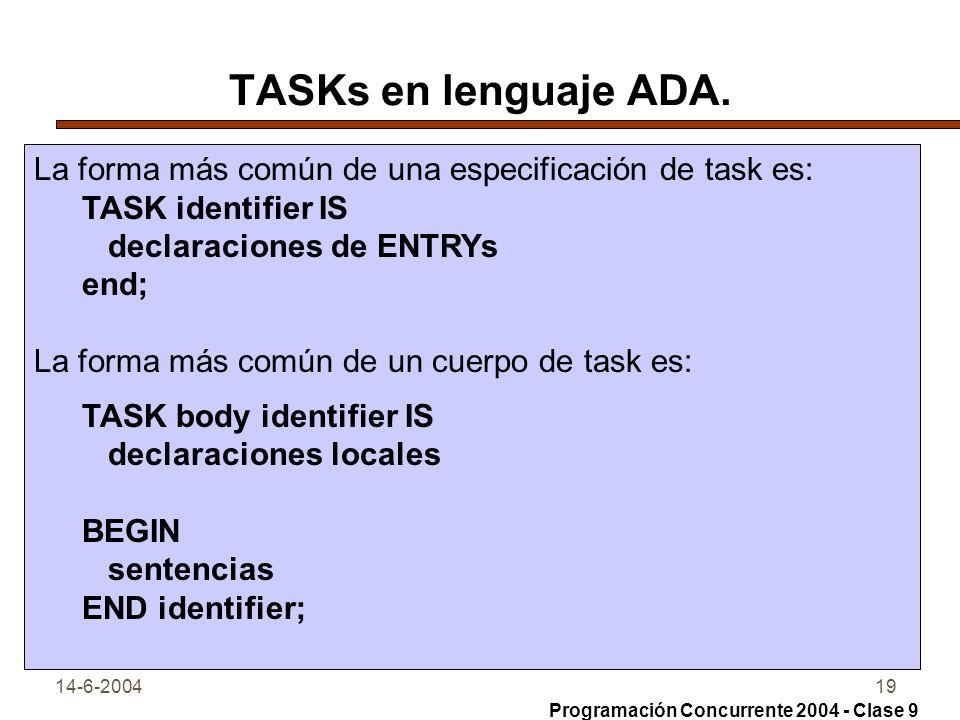 14-6-200419 TASKs en lenguaje ADA. La forma más común de una especificación de task es: TASK identifier IS declaraciones de ENTRYs end; La forma más c