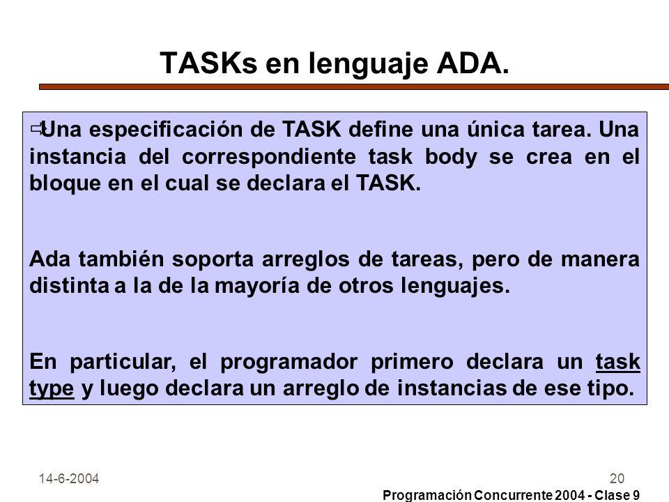 14-6-200420 TASKs en lenguaje ADA. Una especificación de TASK define una única tarea. Una instancia del correspondiente task body se crea en el bloque