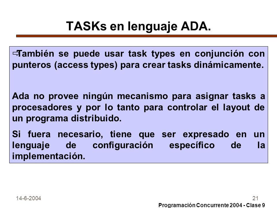 14-6-200421 TASKs en lenguaje ADA. También se puede usar task types en conjunción con punteros (access types) para crear tasks dinámicamente. Ada no p
