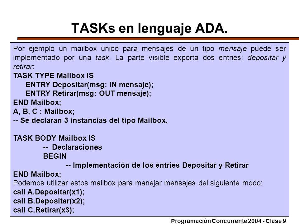 14-6-200423 TASKs en lenguaje ADA. Por ejemplo un mailbox único para mensajes de un tipo mensaje puede ser implementado por una task. La parte visible