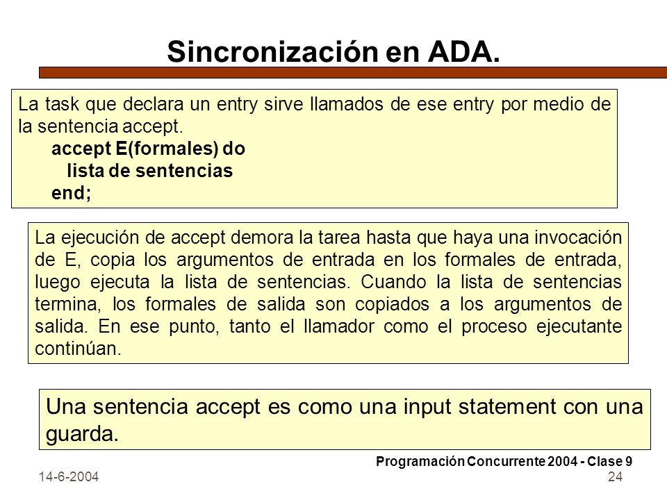 14-6-200424 Sincronización en ADA. La task que declara un entry sirve llamados de ese entry por medio de la sentencia accept. accept E(formales) do li