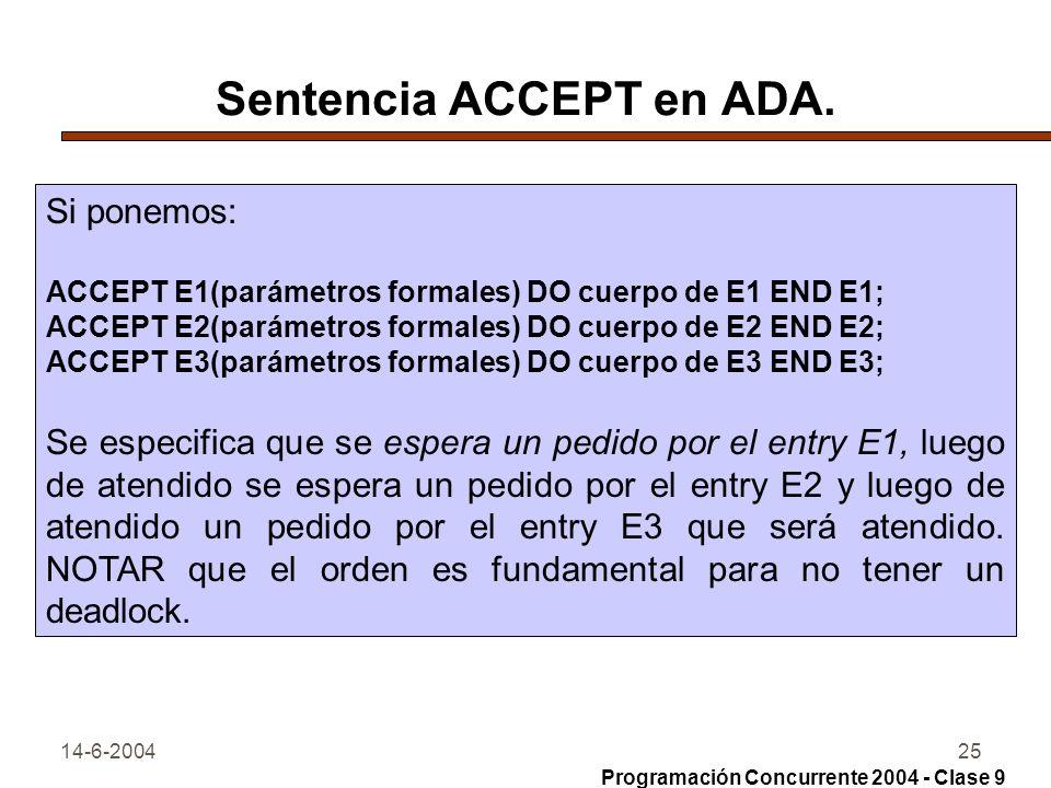 14-6-200425 Sentencia ACCEPT en ADA. Si ponemos: ACCEPT E1(parámetros formales) DO cuerpo de E1 END E1; ACCEPT E2(parámetros formales) DO cuerpo de E2