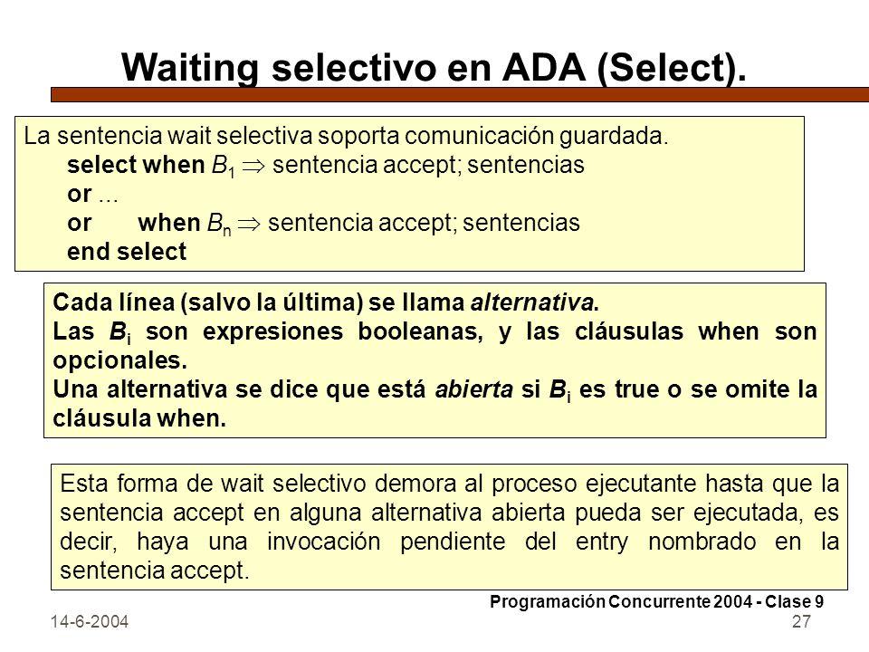 14-6-200427 Waiting selectivo en ADA (Select). La sentencia wait selectiva soporta comunicación guardada. select when B 1 sentencia accept; sentencias