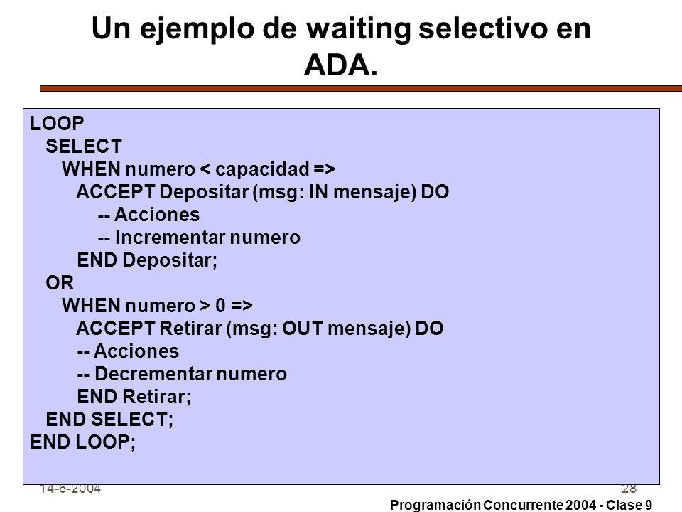 14-6-200428 Un ejemplo de waiting selectivo en ADA. LOOP SELECT WHEN numero ACCEPT Depositar (msg: IN mensaje) DO -- Acciones -- Incrementar numero EN