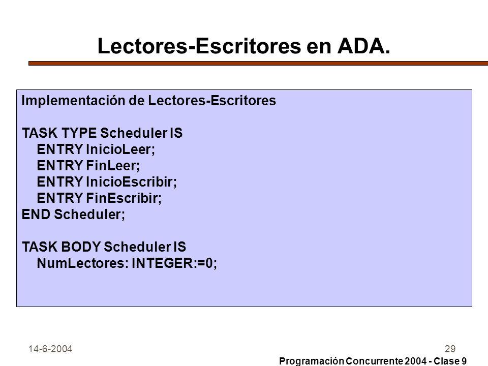 14-6-200429 Lectores-Escritores en ADA. Implementación de Lectores-Escritores TASK TYPE Scheduler IS ENTRY InicioLeer; ENTRY FinLeer; ENTRY InicioEscr
