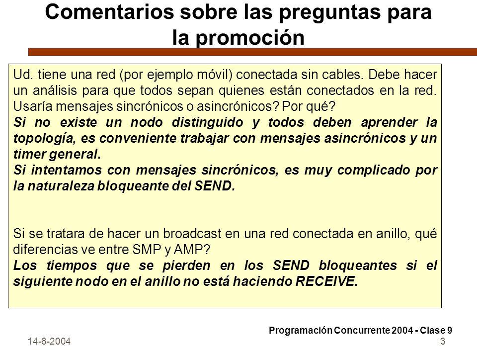 14-6-20043 Comentarios sobre las preguntas para la promoción Ud. tiene una red (por ejemplo móvil) conectada sin cables. Debe hacer un análisis para q