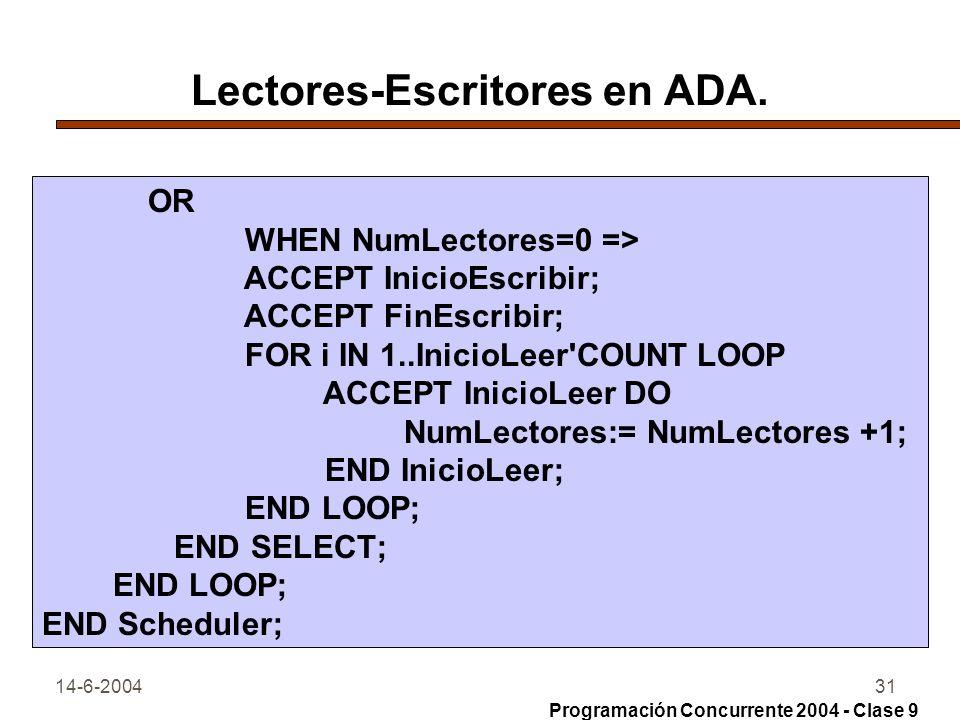 14-6-200431 Lectores-Escritores en ADA. OR WHEN NumLectores=0 => ACCEPT InicioEscribir; ACCEPT FinEscribir; FOR i IN 1..InicioLeer'COUNT LOOP ACCEPT I