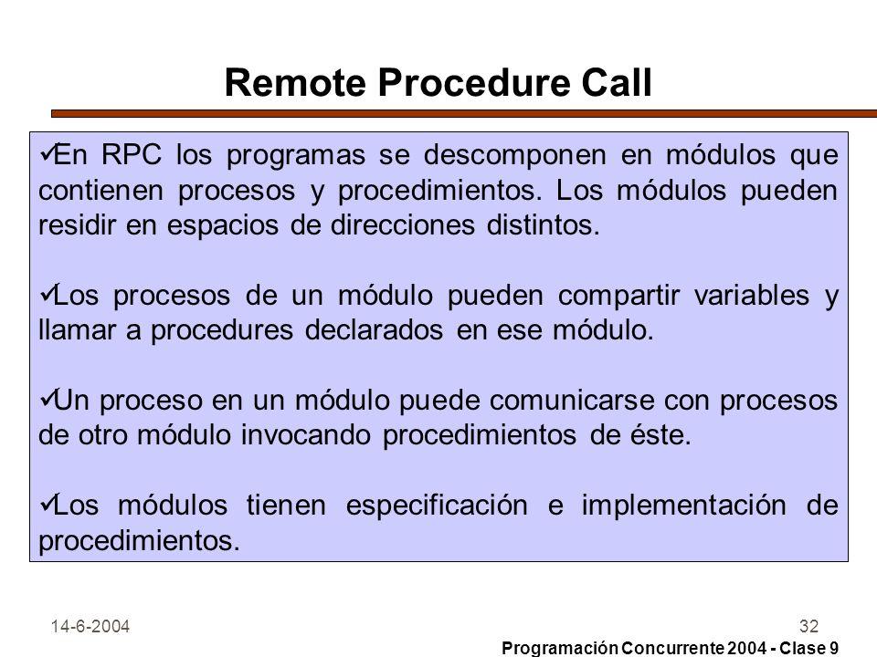 14-6-200432 Remote Procedure Call En RPC los programas se descomponen en módulos que contienen procesos y procedimientos. Los módulos pueden residir e