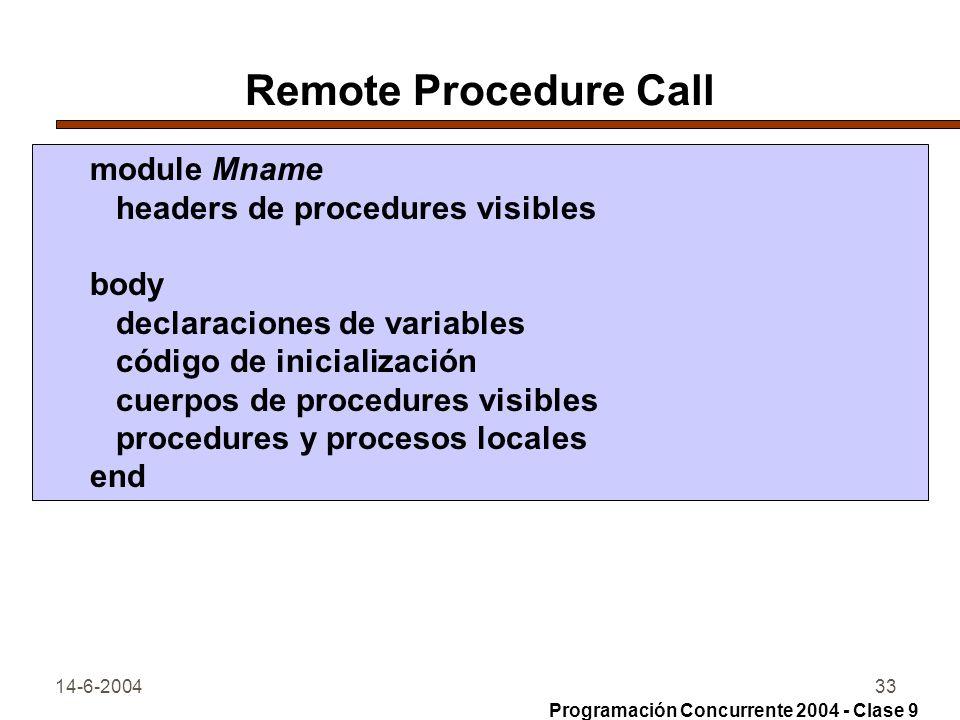 14-6-200433 Remote Procedure Call module Mname headers de procedures visibles body declaraciones de variables código de inicialización cuerpos de proc