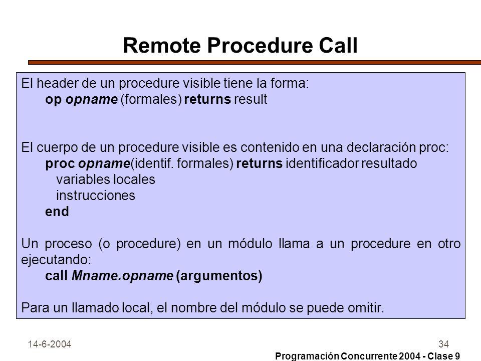 14-6-200434 Remote Procedure Call El header de un procedure visible tiene la forma: op opname (formales) returns result El cuerpo de un procedure visi
