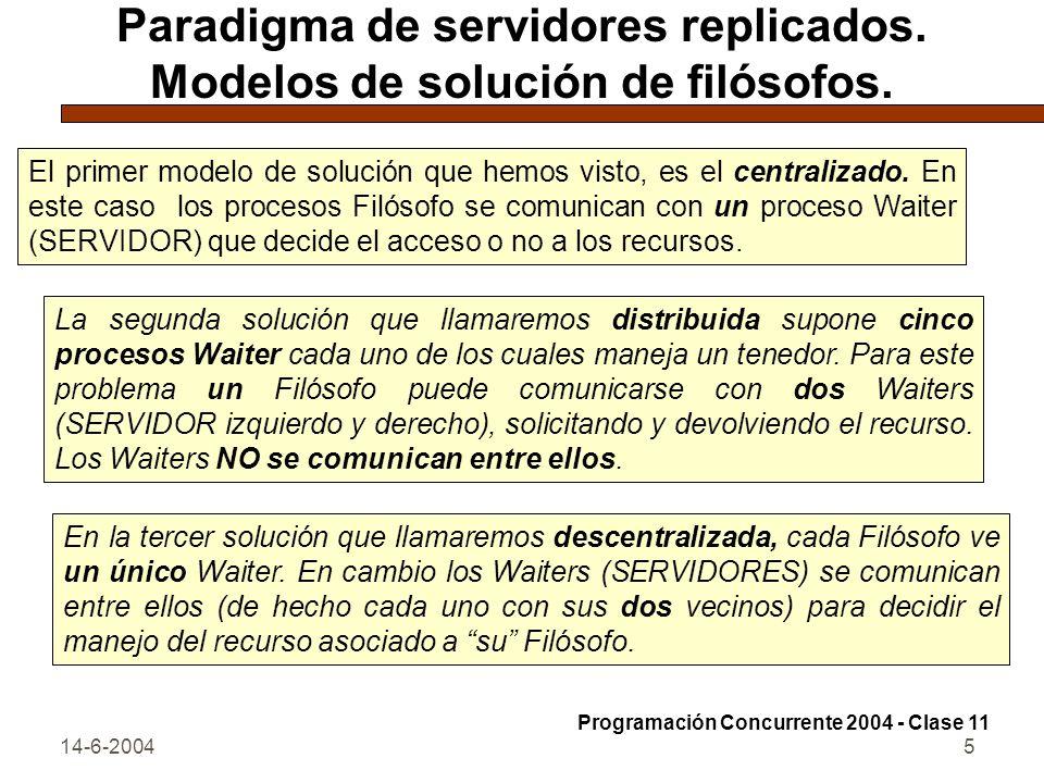 14-6-20045 Paradigma de servidores replicados. Modelos de solución de filósofos. El primer modelo de solución que hemos visto, es el centralizado. En