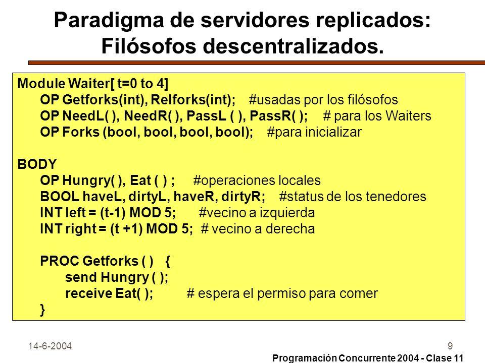 14-6-20049 Paradigma de servidores replicados: Filósofos descentralizados. Module Waiter[ t=0 to 4] OP Getforks(int), Relforks(int); #usadas por los f