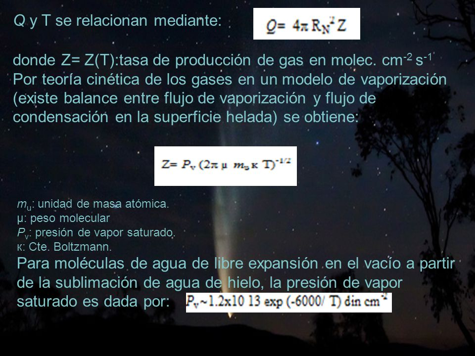 15 Q y T se relacionan mediante: donde Z= Z(T):tasa de producción de gas en molec.