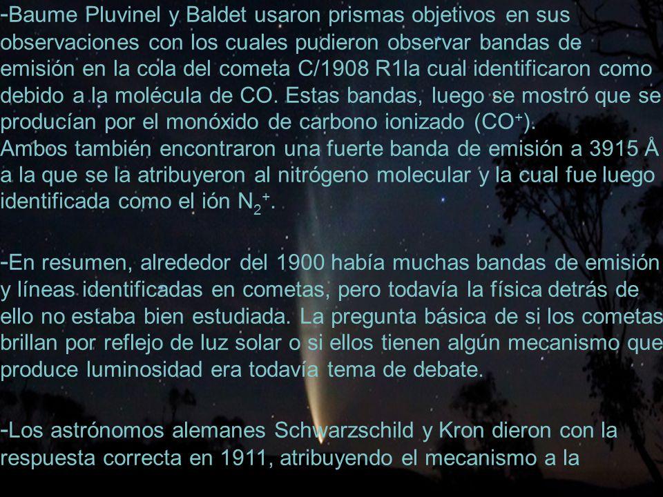 22 - Baume Pluvinel y Baldet usaron prismas objetivos en sus observaciones con los cuales pudieron observar bandas de emisión en la cola del cometa C/1908 R1la cual identificaron como debido a la molécula de CO.