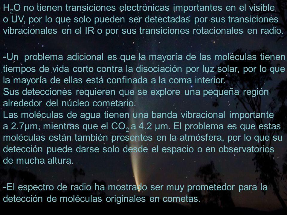 25 H 2 O no tienen transiciones electrónicas importantes en el visible o UV, por lo que solo pueden ser detectadas por sus transiciones vibracionales en el IR o por sus transiciones rotacionales en radio.
