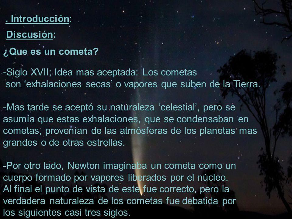 24 Esta fue la primera evidencia observacional de la presencia de agua en el núcleo cometario, que luego sería confirmado como el principal constituyente de los cometas.
