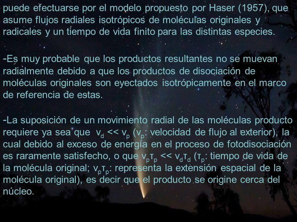 30 puede efectuarse por el modelo propuesto por Haser (1957), que asume flujos radiales isotrópicos de moléculas originales y radicales y un tiempo de vida finito para las distintas especies.