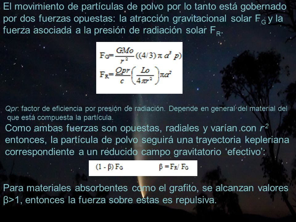 48 El movimiento de partículas de polvo por lo tanto está gobernado por dos fuerzas opuestas: la atracción gravitacional solar F G y la fuerza asociada a la presión de radiación solar F R.