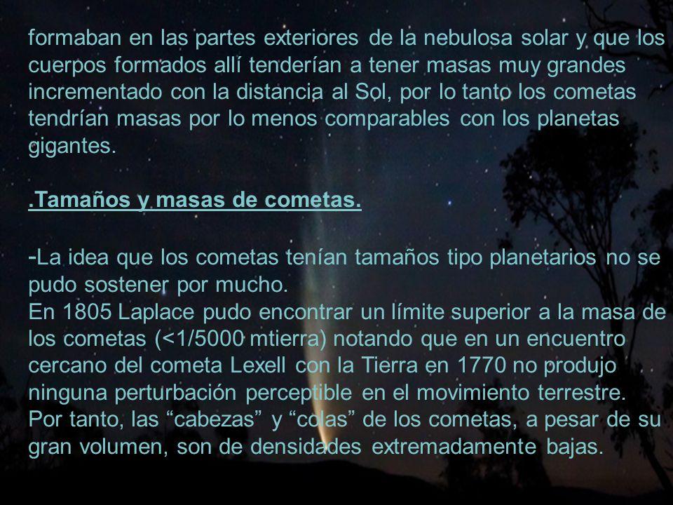 5 formaban en las partes exteriores de la nebulosa solar y que los cuerpos formados allí tenderían a tener masas muy grandes incrementado con la distancia al Sol, por lo tanto los cometas tendrían masas por lo menos comparables con los planetas gigantes..Tamaños y masas de cometas.
