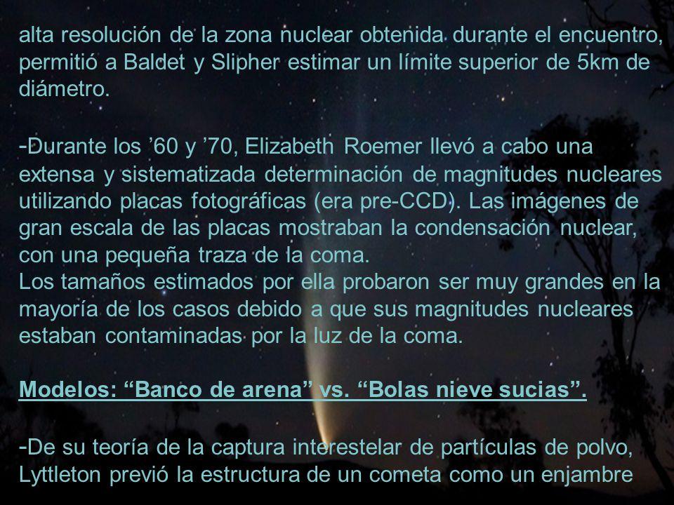 7 alta resolución de la zona nuclear obtenida durante el encuentro, permitió a Baldet y Slipher estimar un límite superior de 5km de diámetro.