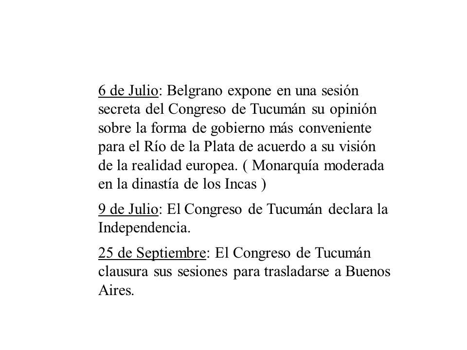 Cronología 24 de Marzo: Se declara abierto el Congreso General Constituyente (Congreso de Tucumán). 16 de Abril: El Director Alvarez Thomas renuncia a