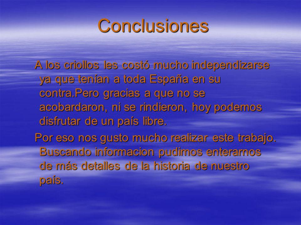 Conclusiones: El Congreso de Tucumán cerró el ciclo iniciado en mayo de 1810 al proclamar la independencia de la metrópoli, del monarca español y de toda nación extranjera.