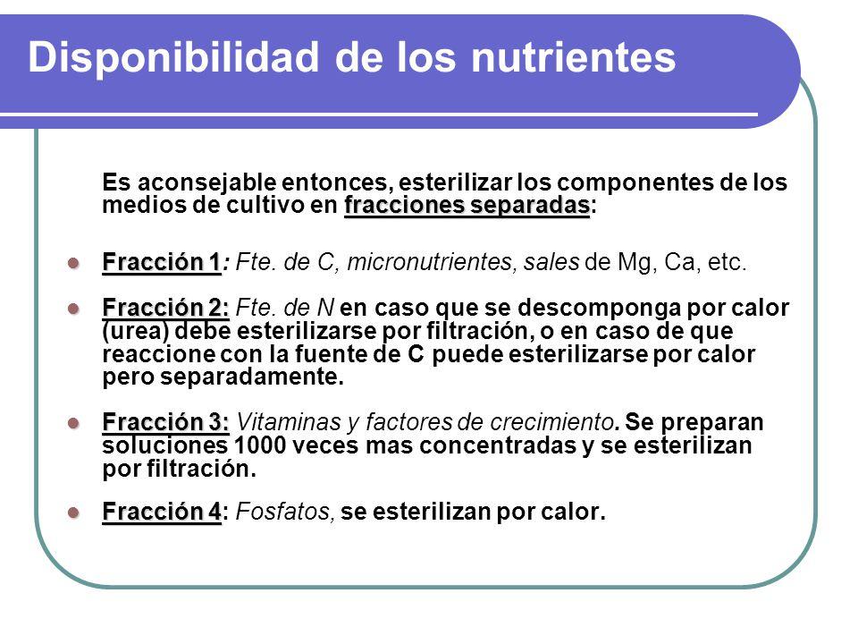 Disponibilidad de los nutrientes fracciones separadas Es aconsejable entonces, esterilizar los componentes de los medios de cultivo en fracciones separadas: Fracción 1 Fracción 1: Fte.