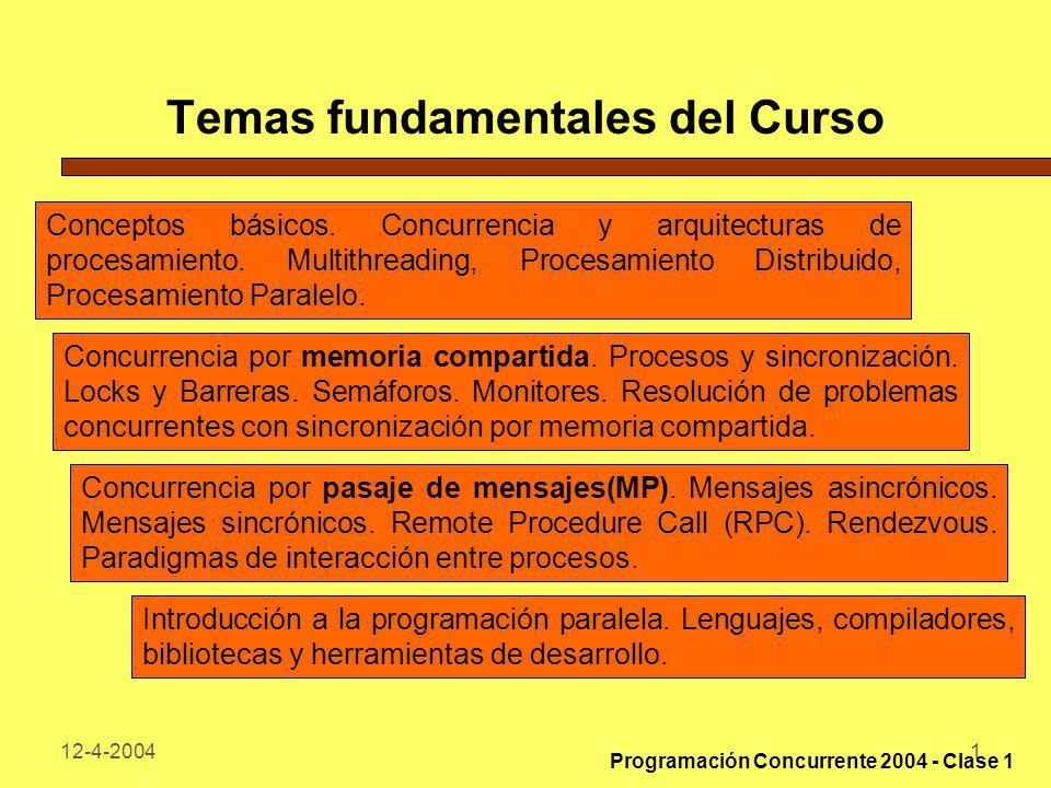 12-4-20041 Temas fundamentales del Curso Conceptos básicos. Concurrencia y arquitecturas de procesamiento. Multithreading, Procesamiento Distribuido,