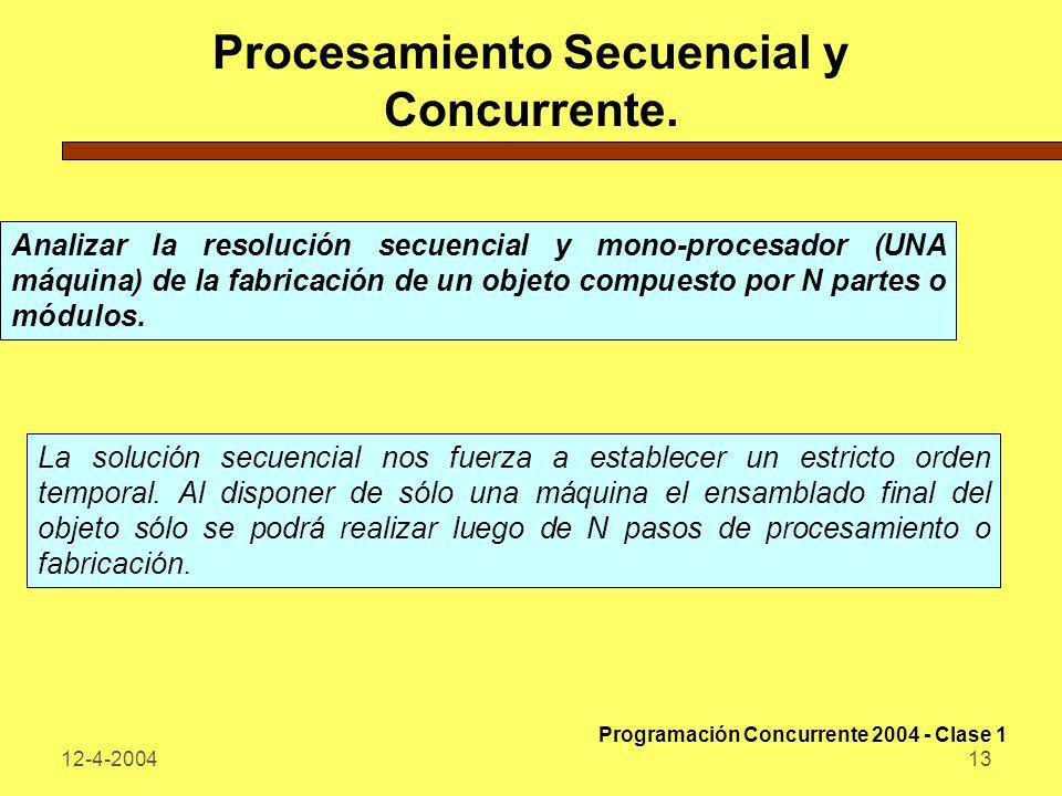 12-4-200413 Procesamiento Secuencial y Concurrente. Analizar la resolución secuencial y mono-procesador (UNA máquina) de la fabricación de un objeto c