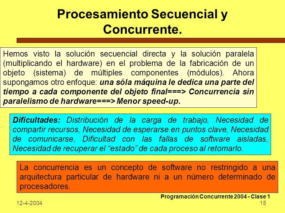 12-4-200415 Procesamiento Secuencial y Concurrente. Hemos visto la solución secuencial directa y la solución paralela (multiplicando el hardware) en e