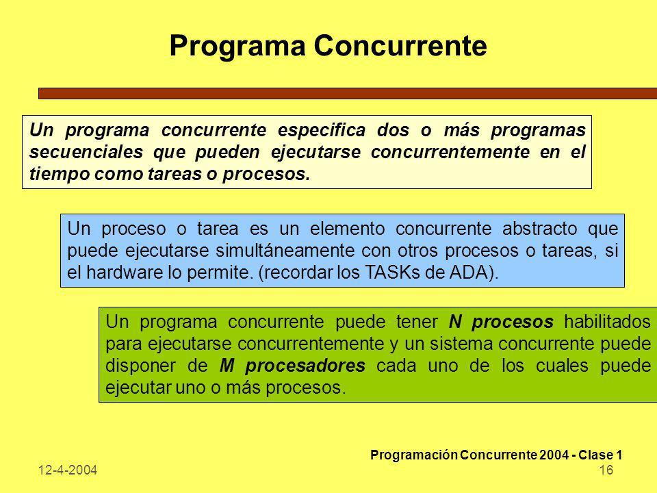 12-4-200416 Programa Concurrente Un programa concurrente especifica dos o más programas secuenciales que pueden ejecutarse concurrentemente en el tiem