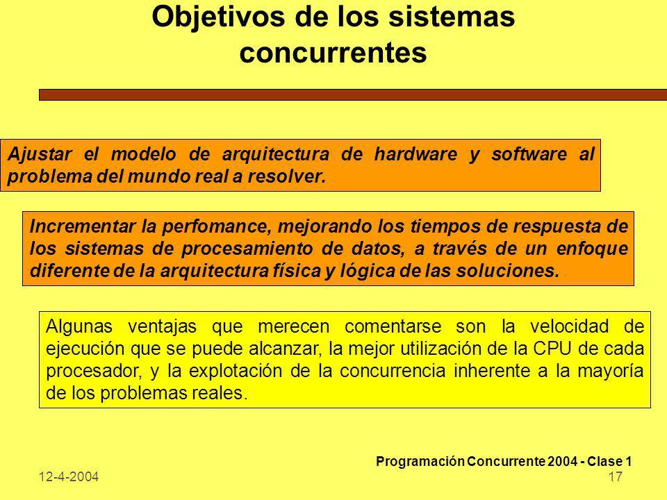 12-4-200417 Objetivos de los sistemas concurrentes Ajustar el modelo de arquitectura de hardware y software al problema del mundo real a resolver. Inc