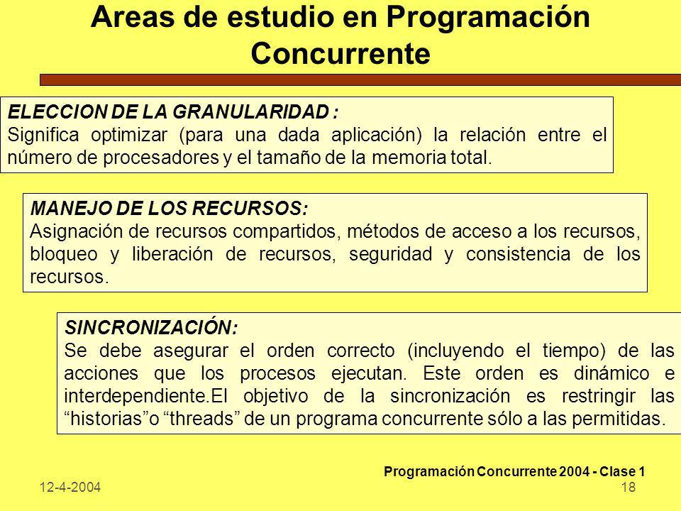 12-4-200418 Areas de estudio en Programación Concurrente ELECCION DE LA GRANULARIDAD : Significa optimizar (para una dada aplicación) la relación entr