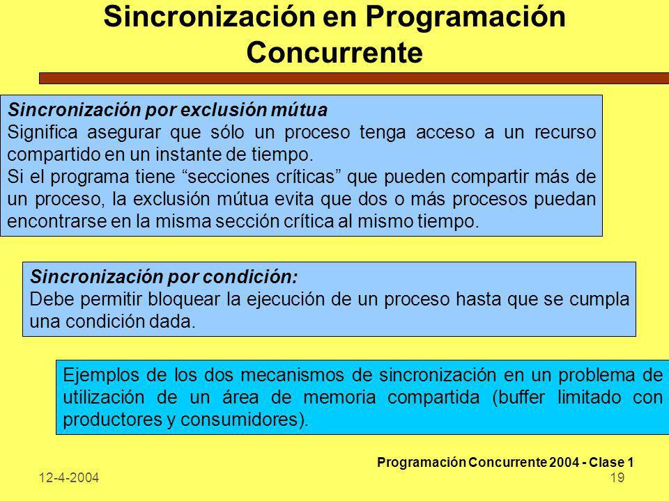 12-4-200419 Sincronización en Programación Concurrente Sincronización por exclusión mútua Significa asegurar que sólo un proceso tenga acceso a un rec