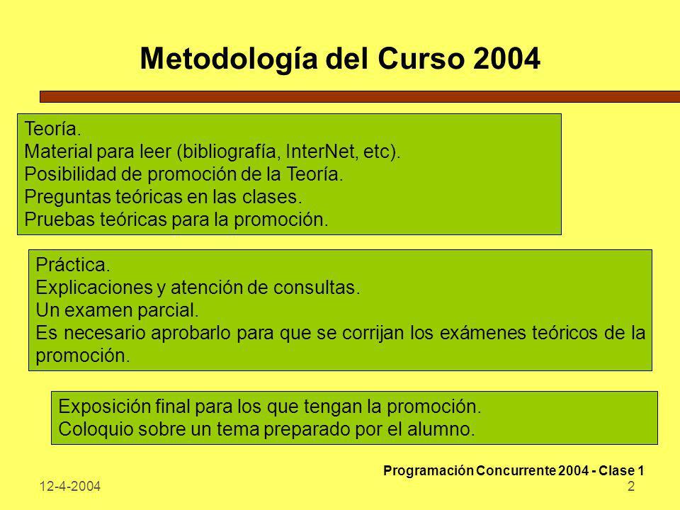 12-4-20043 Objetivos del Curso Plantear los fundamentos de la programación concurrente, estudiando su sintaxis y semántica, así como herramientas y lenguajes para la resolución de programas concurrentes.