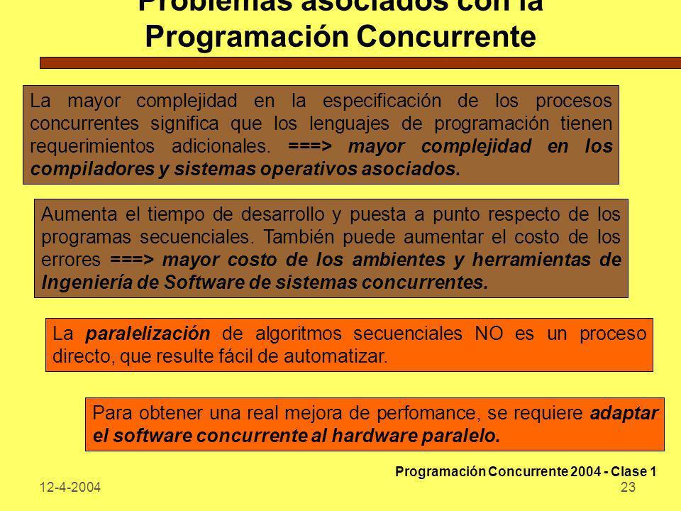 12-4-200423 Problemas asociados con la Programación Concurrente La mayor complejidad en la especificación de los procesos concurrentes significa que l