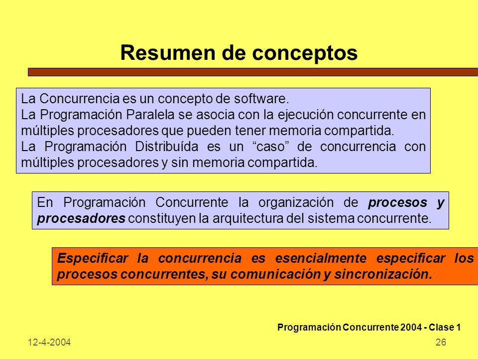 12-4-200426 Resumen de conceptos La Concurrencia es un concepto de software. La Programación Paralela se asocia con la ejecución concurrente en múltip