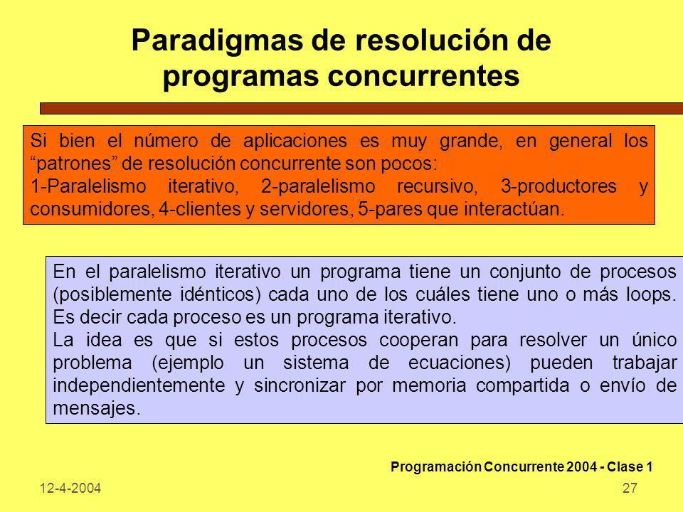12-4-200427 Paradigmas de resolución de programas concurrentes Si bien el número de aplicaciones es muy grande, en general los patrones de resolución