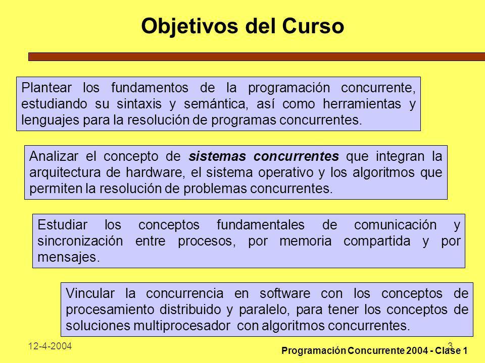 12-4-20043 Objetivos del Curso Plantear los fundamentos de la programación concurrente, estudiando su sintaxis y semántica, así como herramientas y le