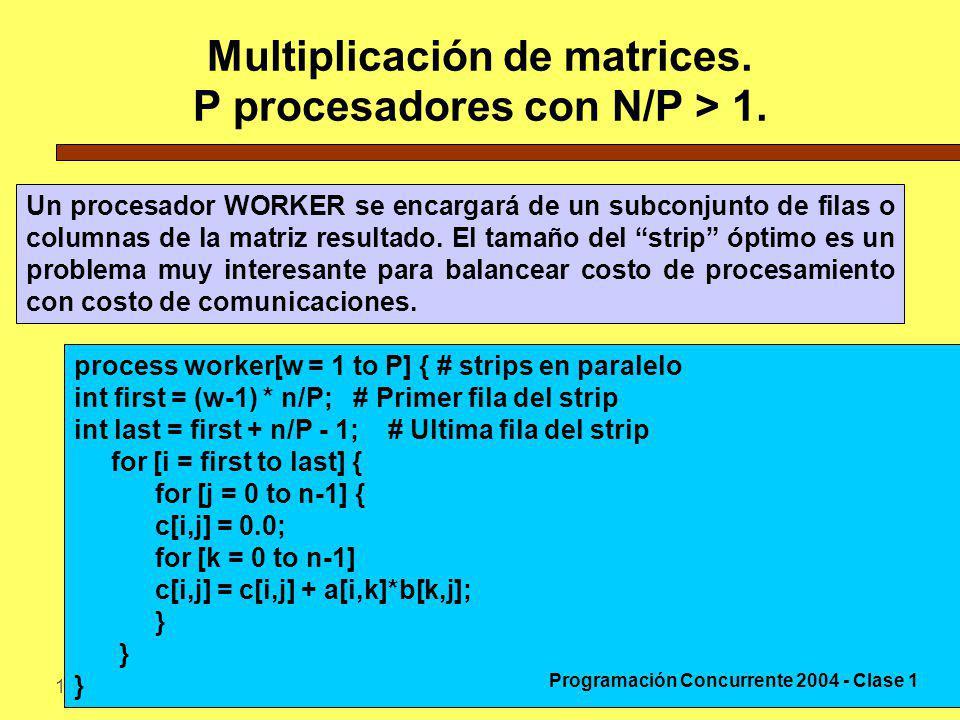 12-4-200431 Multiplicación de matrices. P procesadores con N/P > 1. Un procesador WORKER se encargará de un subconjunto de filas o columnas de la matr