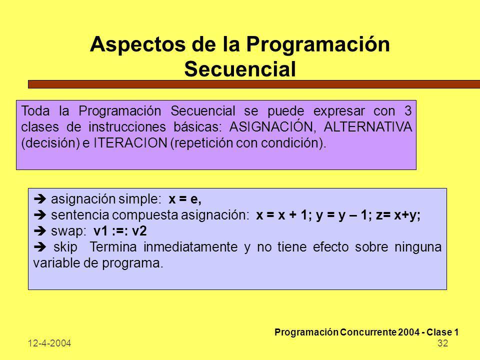 12-4-200432 Aspectos de la Programación Secuencial Toda la Programación Secuencial se puede expresar con 3 clases de instrucciones básicas: ASIGNACIÓN