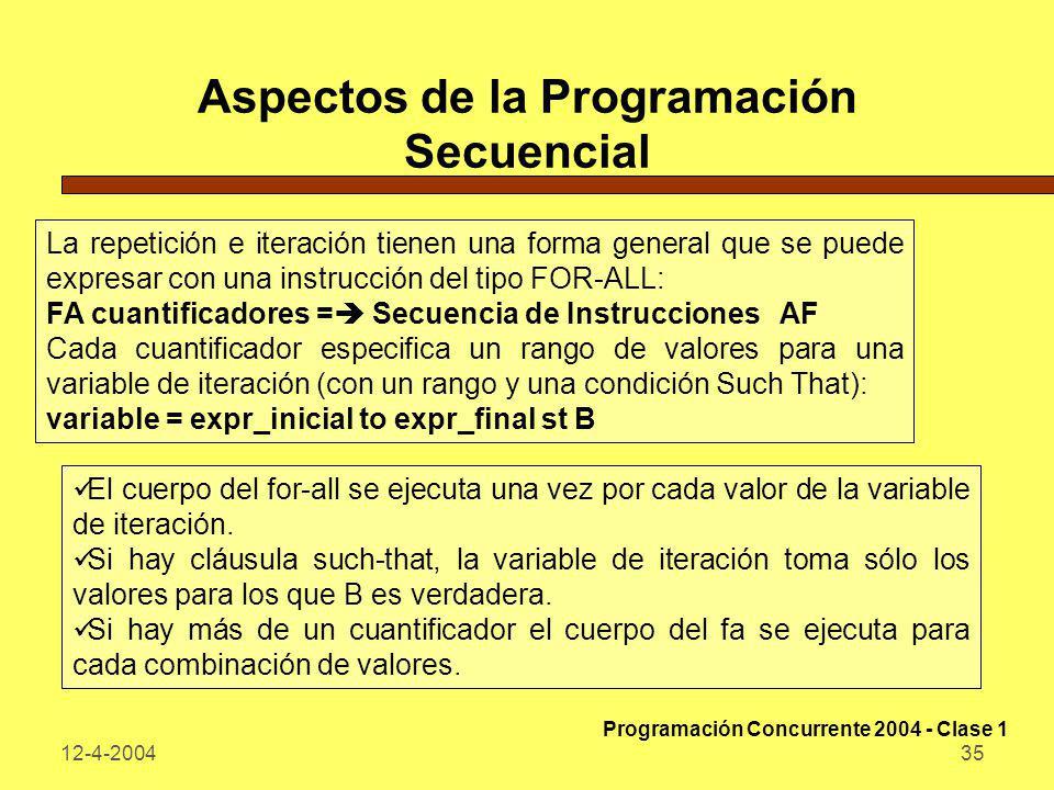 12-4-200435 Aspectos de la Programación Secuencial La repetición e iteración tienen una forma general que se puede expresar con una instrucción del ti