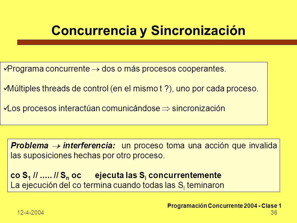 12-4-200436 Concurrencia y Sincronización Programa concurrente dos o más procesos cooperantes. Múltiples threads de control (en el mismo t ?), uno por