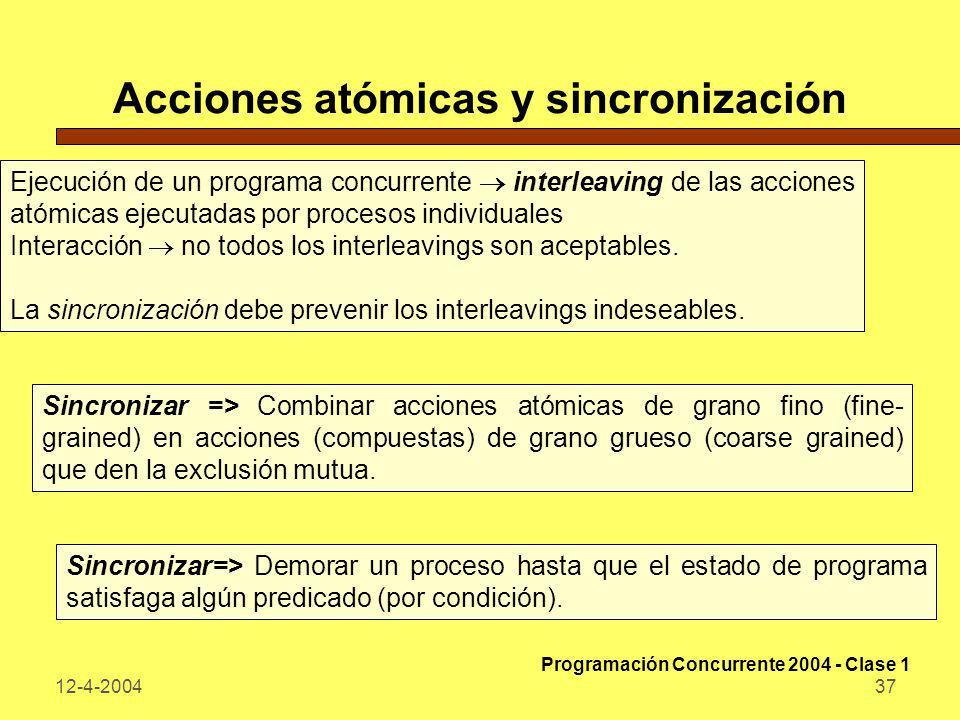 12-4-200437 Acciones atómicas y sincronización Ejecución de un programa concurrente interleaving de las acciones atómicas ejecutadas por procesos indi