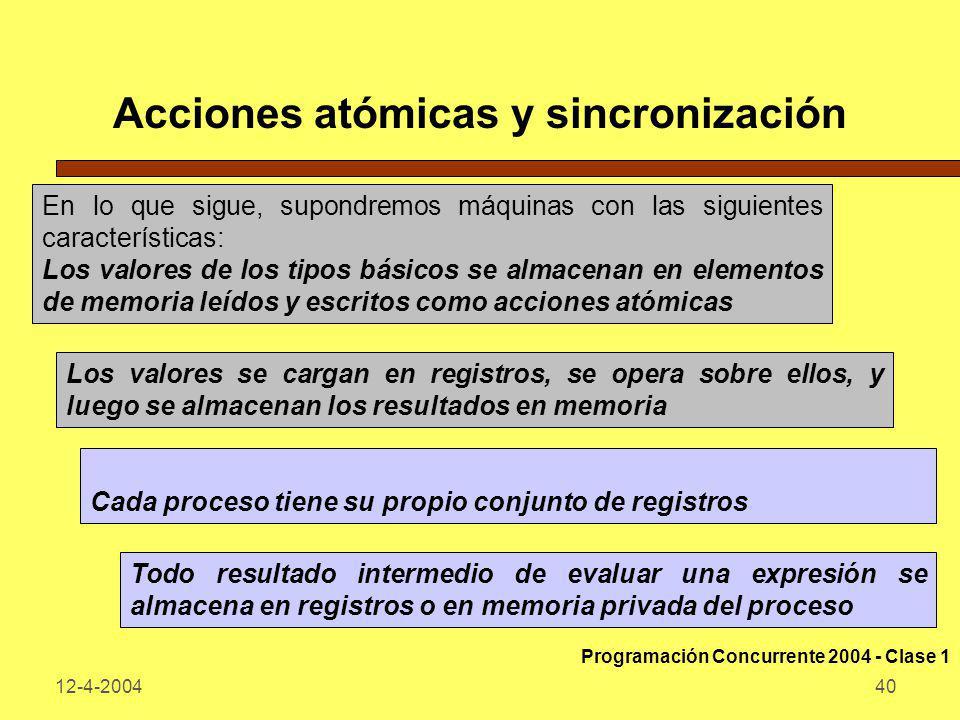 12-4-200440 Acciones atómicas y sincronización En lo que sigue, supondremos máquinas con las siguientes características: Los valores de los tipos bási